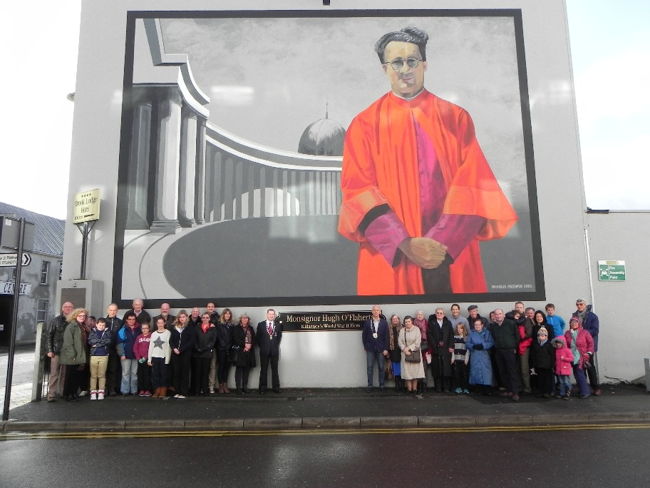 Unveiling of plaque at Hugh O'Flaherty Mural in Killarney